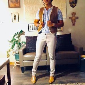 Jackets & Blazers - Cognac Brown Leather Vest Wool Lining